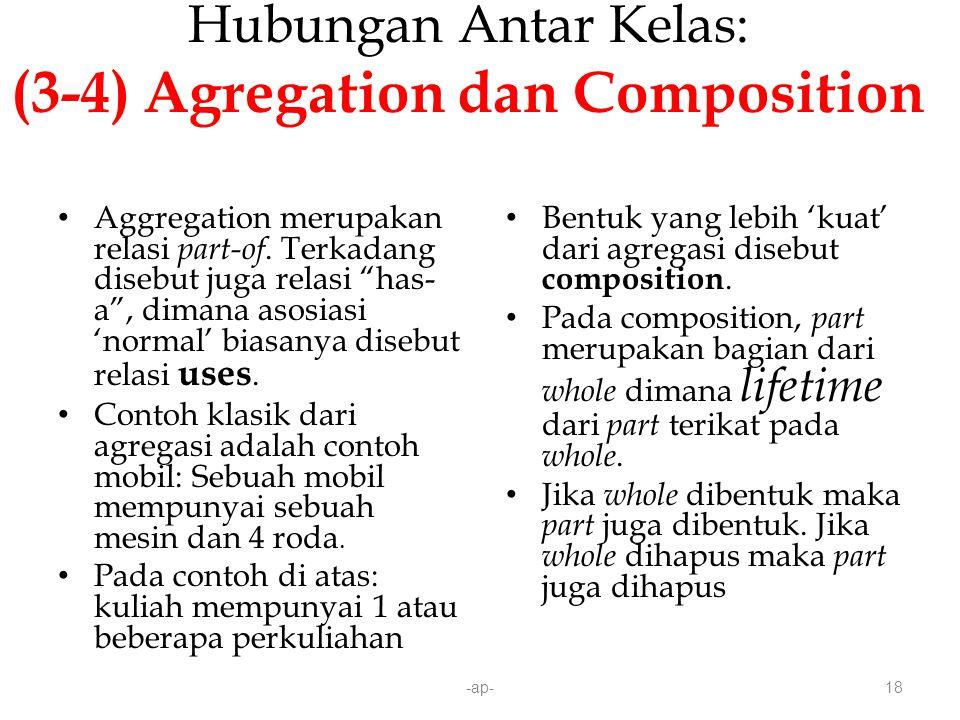 -ap-18 Hubungan Antar Kelas: (3-4) Agregation dan Composition Aggregation merupakan relasi part-of.