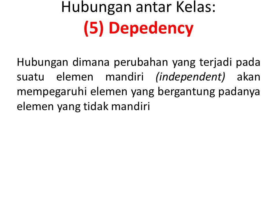 Hubungan antar Kelas: (5) Depedency Hubungan dimana perubahan yang terjadi pada suatu elemen mandiri (independent) akan mempegaruhi elemen yang bergantung padanya elemen yang tidak mandiri