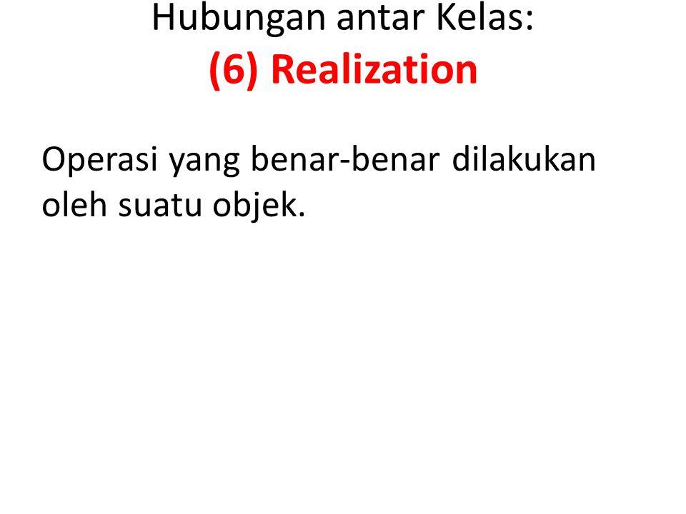 Hubungan antar Kelas: (6) Realization Operasi yang benar-benar dilakukan oleh suatu objek.