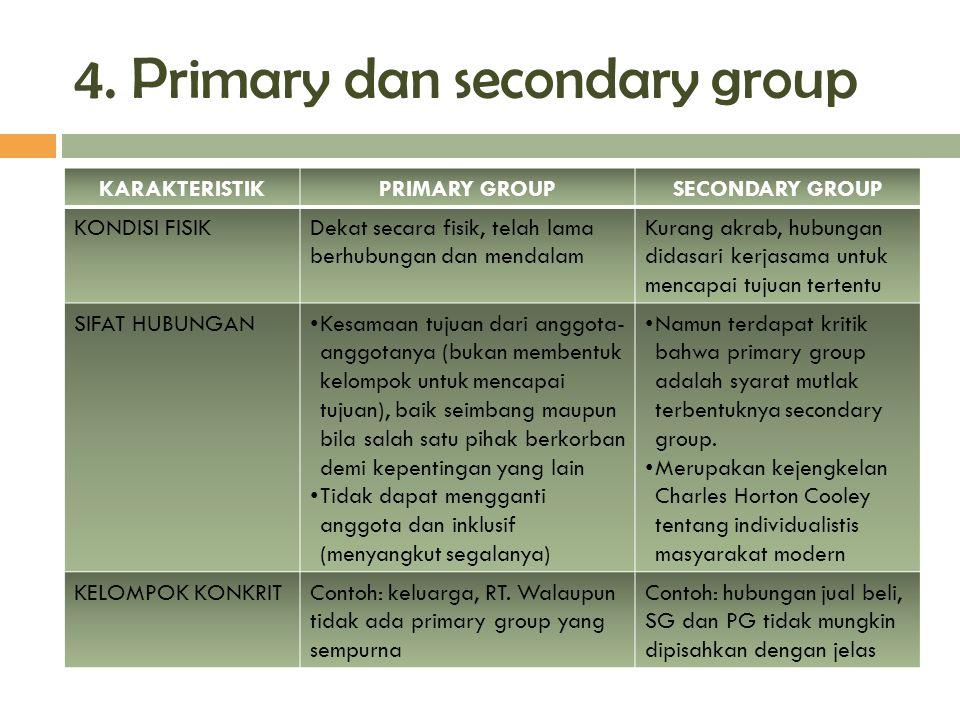4. Primary dan secondary group KARAKTERISTIKPRIMARY GROUPSECONDARY GROUP KONDISI FISIKDekat secara fisik, telah lama berhubungan dan mendalam Kurang a