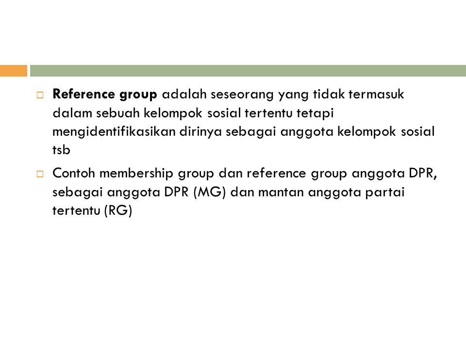  Reference group adalah seseorang yang tidak termasuk dalam sebuah kelompok sosial tertentu tetapi mengidentifikasikan dirinya sebagai anggota kelomp