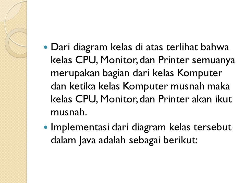 Dari diagram kelas di atas terlihat bahwa kelas CPU, Monitor, dan Printer semuanya merupakan bagian dari kelas Komputer dan ketika kelas Komputer musn
