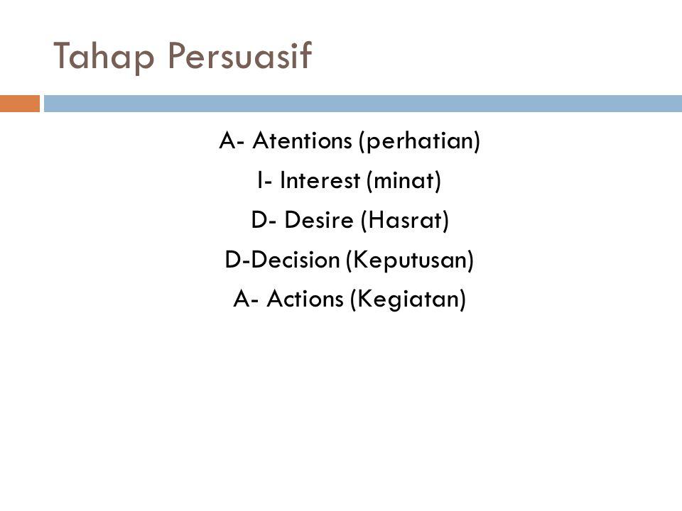 Tahap Persuasif  Dimulai dengan upaya membangkitkan perhatian (atentions) khalayak.Didukung dengan penamilan yang merangsang khalayak.