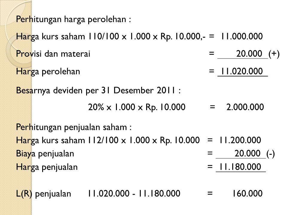 Perhitungan harga perolehan : Harga kurs saham110/100 x 1.000 x Rp. 10.000,-= 11.000.000 Provisi dan materai= 20.000(+) Harga perolehan= 11.020.000 Be
