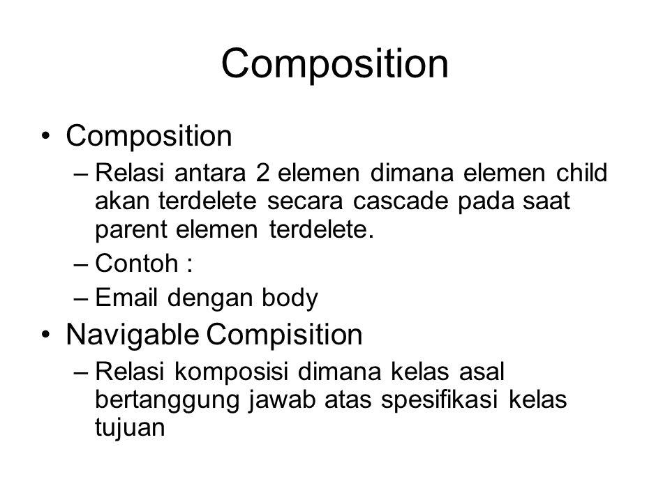 Composition –Relasi antara 2 elemen dimana elemen child akan terdelete secara cascade pada saat parent elemen terdelete. –Contoh : –Email dengan body