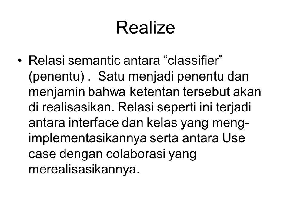 """Realize Relasi semantic antara """"classifier"""" (penentu). Satu menjadi penentu dan menjamin bahwa ketentan tersebut akan di realisasikan. Relasi seperti"""
