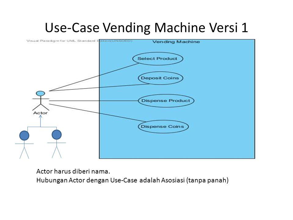 Use-Case Vending Machine Versi 1 Actor harus diberi nama. Hubungan Actor dengan Use-Case adalah Asosiasi (tanpa panah)