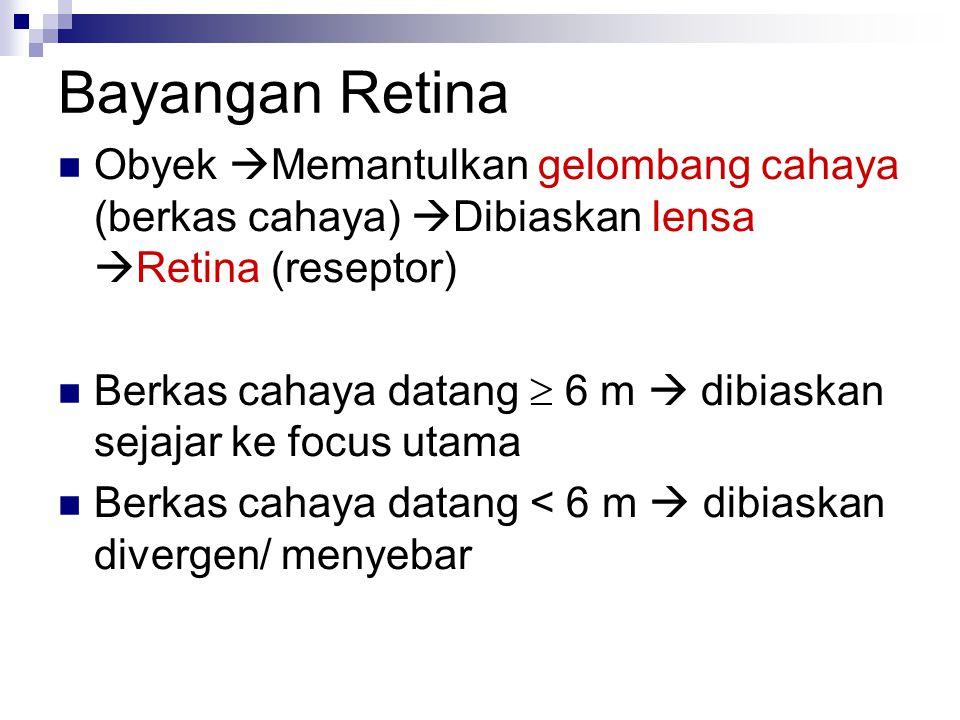 Bayangan Retina Obyek  Memantulkan gelombang cahaya (berkas cahaya)  Dibiaskan lensa  Retina (reseptor) Berkas cahaya datang  6 m  dibiaskan sejajar ke focus utama Berkas cahaya datang < 6 m  dibiaskan divergen/ menyebar