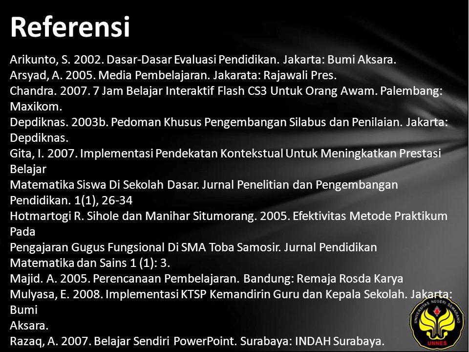 Referensi Arikunto, S. 2002. Dasar-Dasar Evaluasi Pendidikan. Jakarta: Bumi Aksara. Arsyad, A. 2005. Media Pembelajaran. Jakarata: Rajawali Pres. Chan