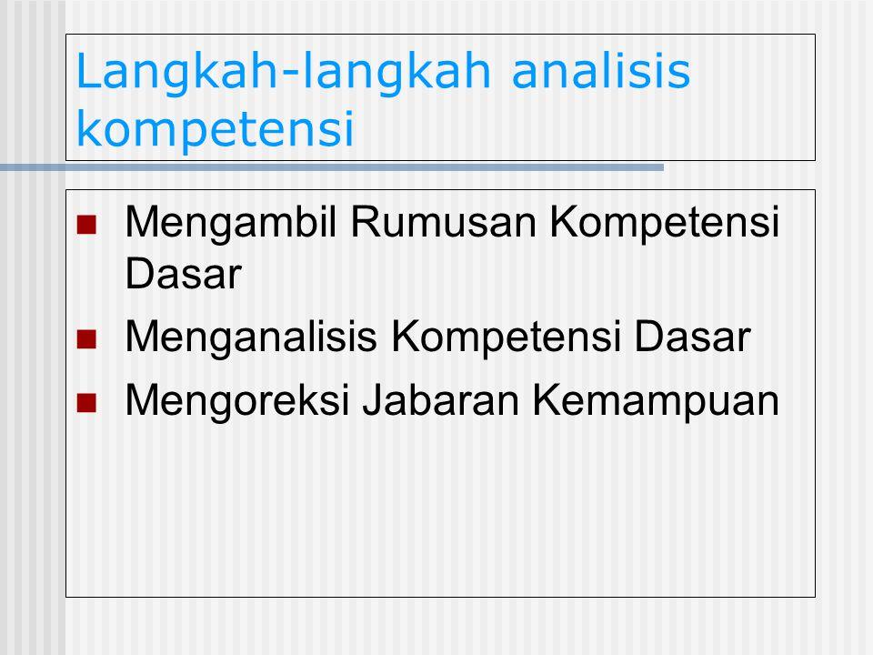 Langkah-langkah analisis kompetensi Mengambil Rumusan Kompetensi Dasar Menganalisis Kompetensi Dasar Mengoreksi Jabaran Kemampuan