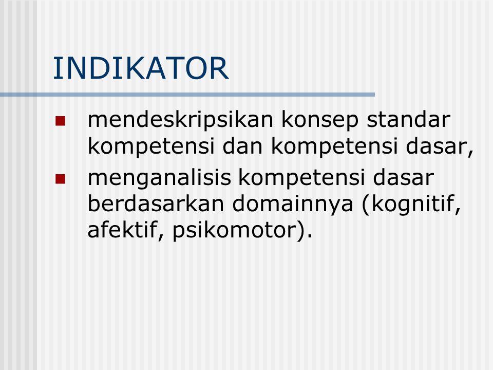 INDIKATOR mendeskripsikan konsep standar kompetensi dan kompetensi dasar, menganalisis kompetensi dasar berdasarkan domainnya (kognitif, afektif, psikomotor).