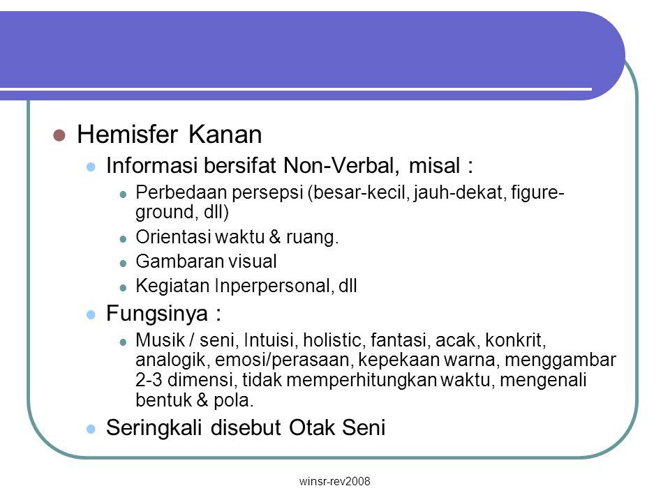 winsr-rev2008 Hemisfer Kanan Informasi bersifat Non-Verbal, misal : Perbedaan persepsi (besar-kecil, jauh-dekat, figure- ground, dll) Orientasi waktu