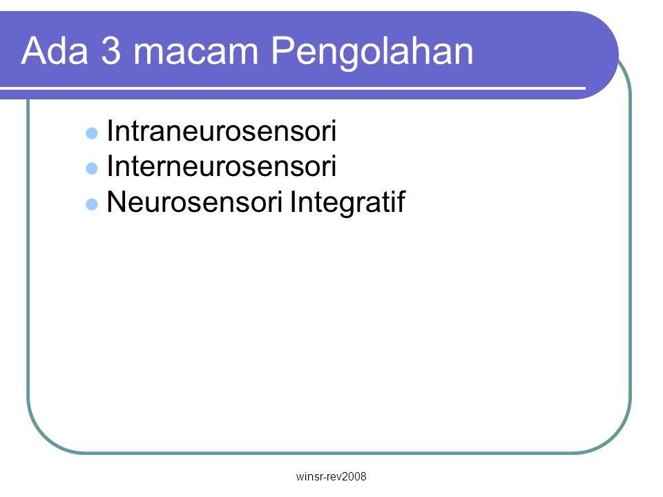 winsr-rev2008 Ada 3 macam Pengolahan Intraneurosensori Interneurosensori Neurosensori Integratif