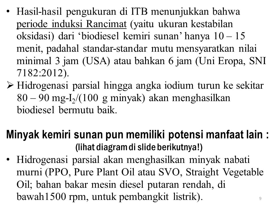 Hasil-hasil pengukuran di ITB menunjukkan bahwa periode induksi Rancimat (yaitu ukuran kestabilan oksidasi) dari 'biodiesel kemiri sunan' hanya 10 – 1