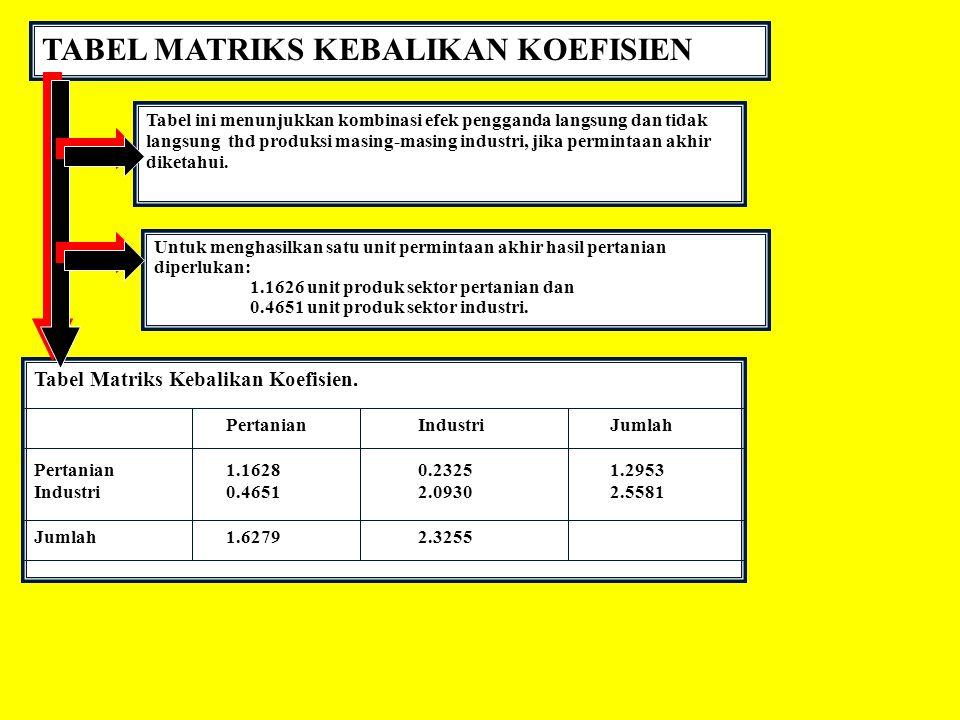 TABEL MATRIKS KEBALIKAN KOEFISIEN Tabel ini menunjukkan kombinasi efek pengganda langsung dan tidak langsung thd produksi masing-masing industri, jika