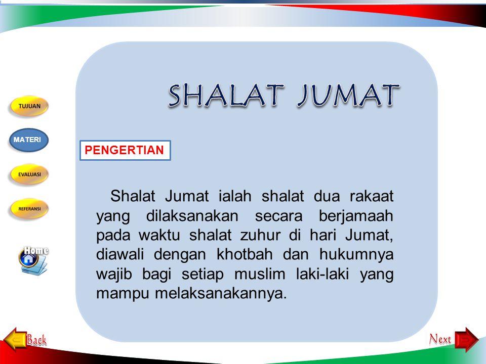 Shalat Jumat ialah shalat dua rakaat yang dilaksanakan secara berjamaah pada waktu shalat zuhur di hari Jumat, diawali dengan khotbah dan hukumnya wajib bagi setiap muslim laki-laki yang mampu melaksanakannya.