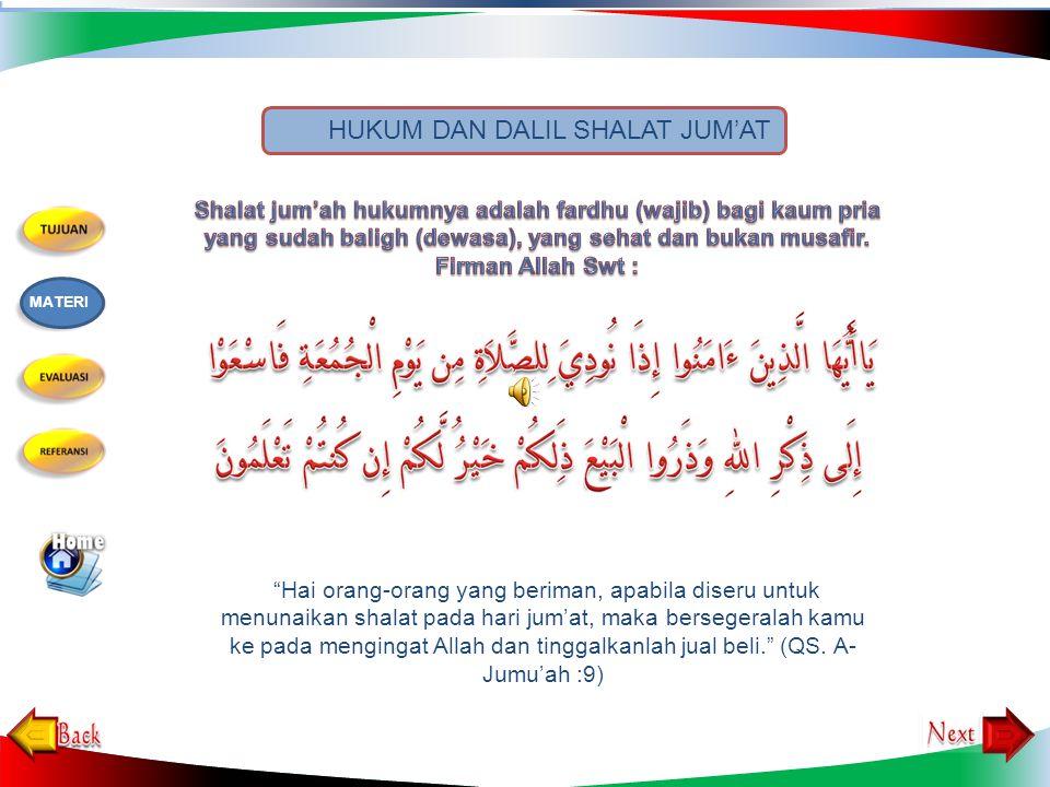 Shalat Jumat ialah shalat dua rakaat yang dilaksanakan secara berjamaah pada waktu shalat zuhur di hari Jumat, diawali dengan khotbah dan hukumnya wa