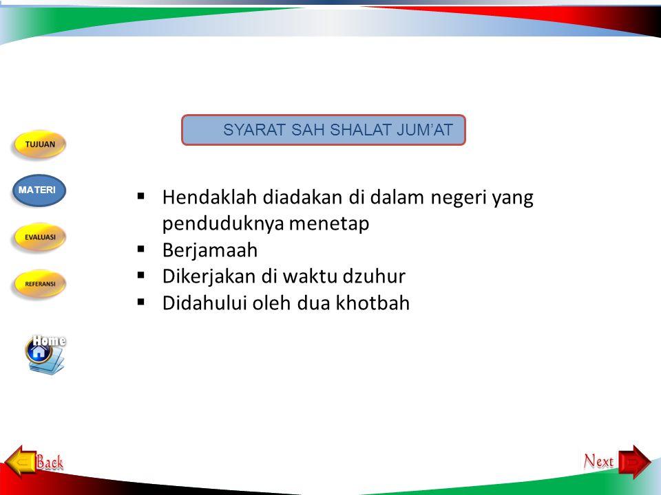 4.Urutan kegiatan khutbah jum'at yang benar adalah…..