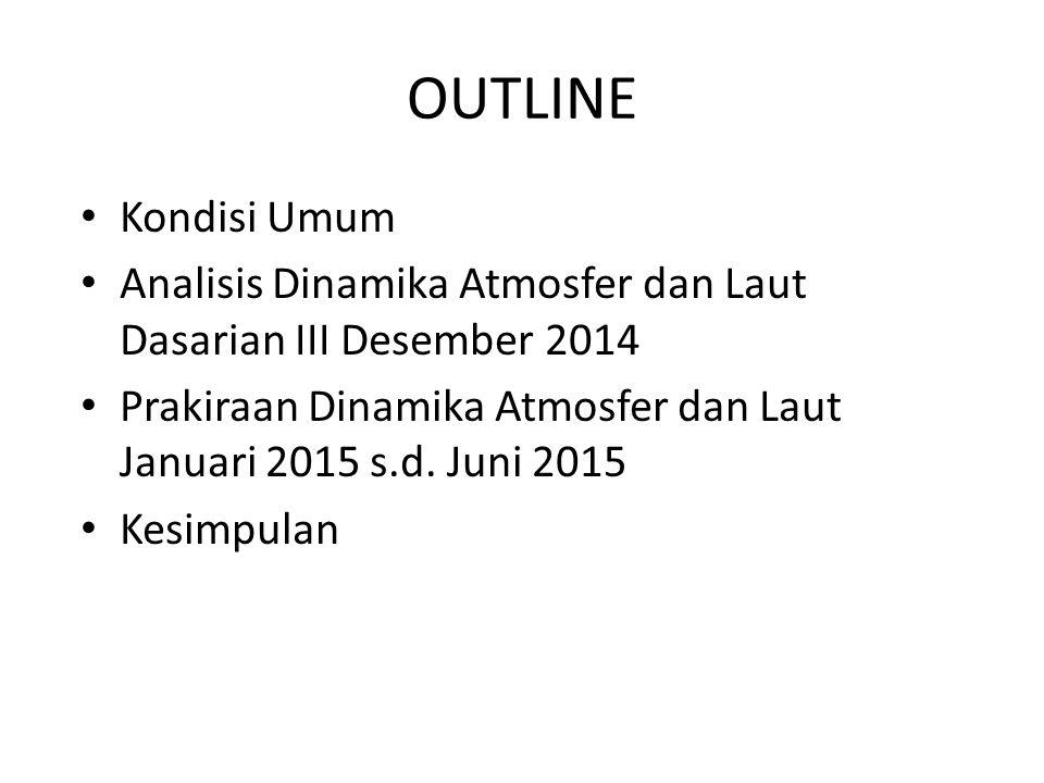 OUTLINE Kondisi Umum Analisis Dinamika Atmosfer dan Laut Dasarian III Desember 2014 Prakiraan Dinamika Atmosfer dan Laut Januari 2015 s.d. Juni 2015 K