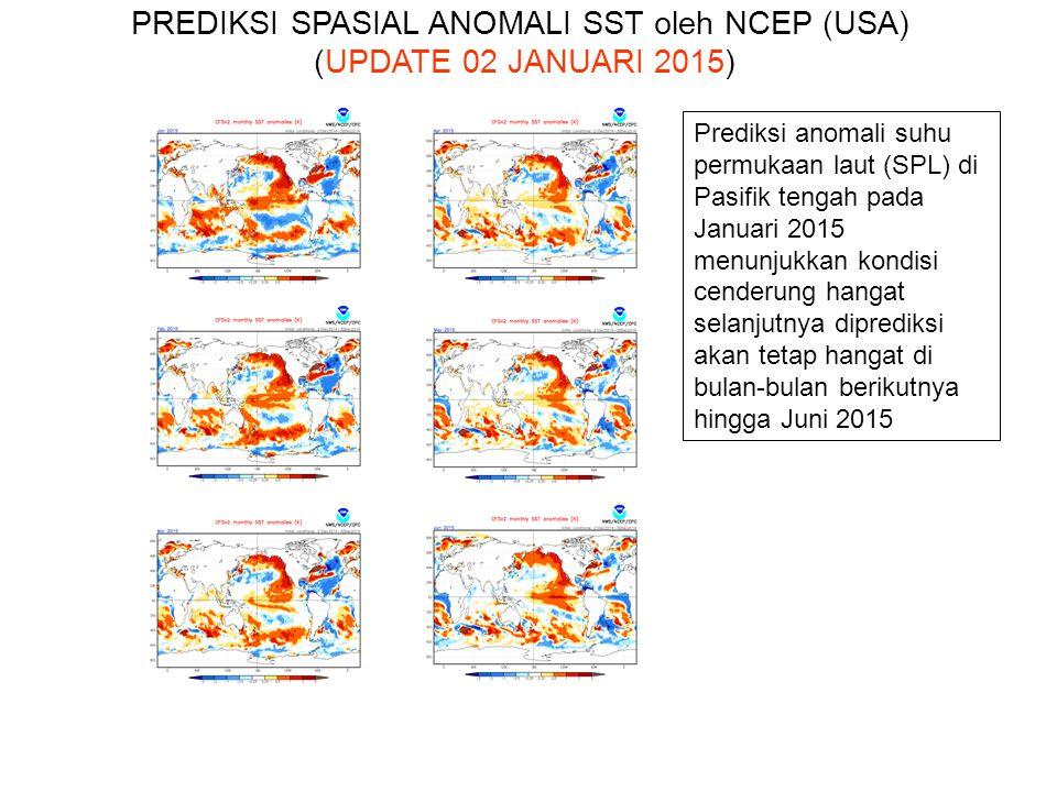 Prediksi anomali suhu permukaan laut (SPL) di Pasifik tengah pada Januari 2015 menunjukkan kondisi cenderung hangat selanjutnya diprediksi akan tetap