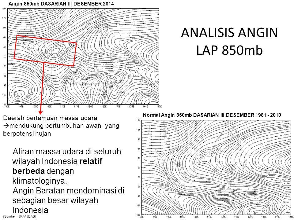 ANALISIS ANGIN LAP 850mb Aliran massa udara di seluruh wilayah Indonesia relatif berbeda dengan klimatologinya. Angin Baratan mendominasi di sebagian
