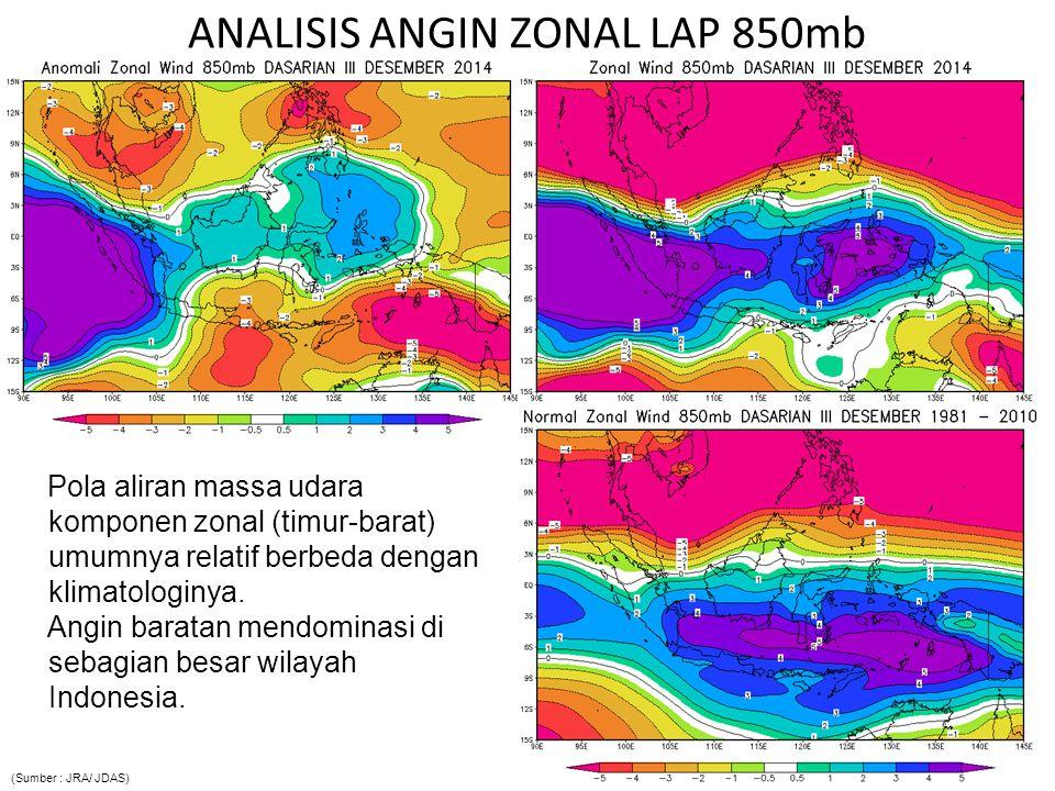 ANALISIS ANGIN ZONAL LAP 850mb Pola aliran massa udara komponen zonal (timur-barat) umumnya relatif berbeda dengan klimatologinya. Angin baratan mendo