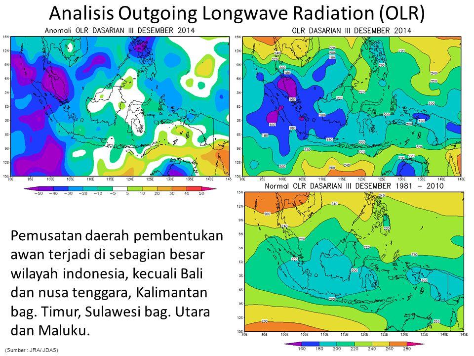 Analisis Outgoing Longwave Radiation (OLR) Pemusatan daerah pembentukan awan terjadi di sebagian besar wilayah indonesia, kecuali Bali dan nusa tengga