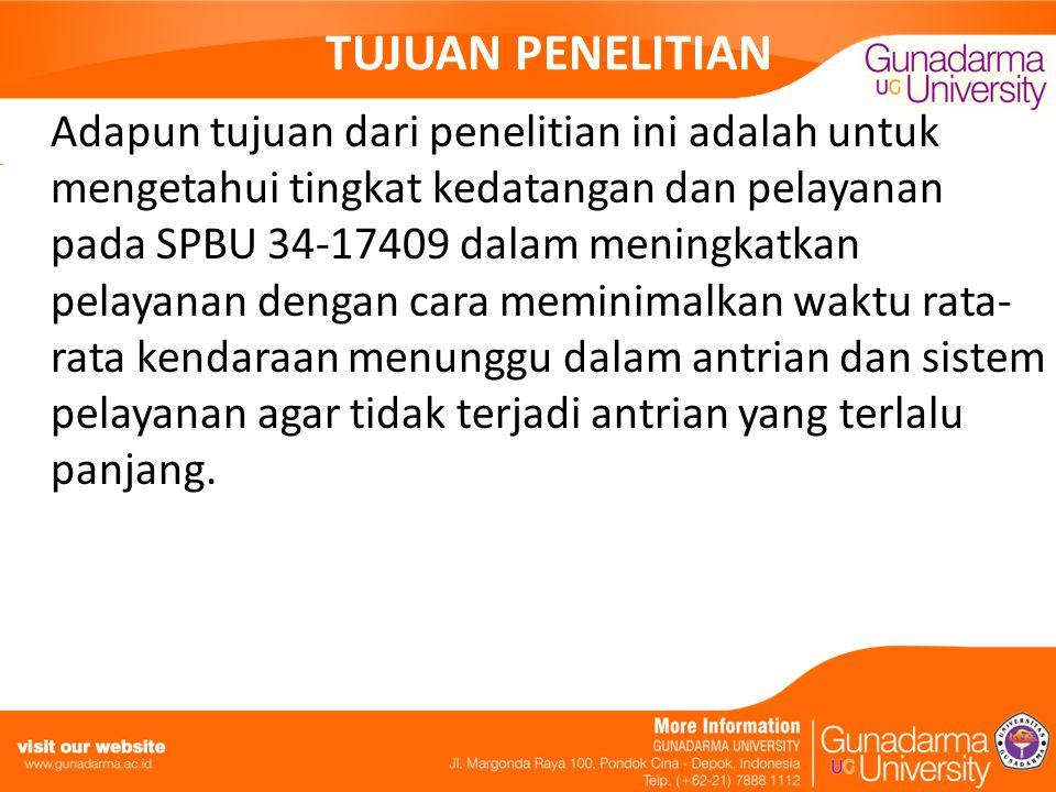 TUJUAN PENELITIAN Adapun tujuan dari penelitian ini adalah untuk mengetahui tingkat kedatangan dan pelayanan pada SPBU 34-17409 dalam meningkatkan pel
