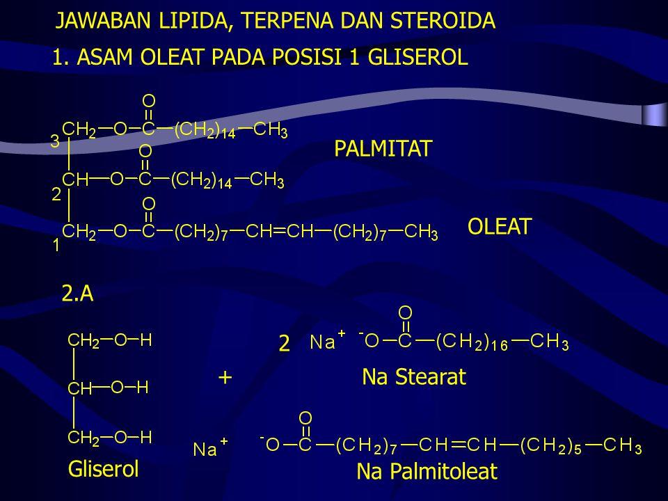1. ASAM OLEAT PADA POSISI 1 GLISEROL OLEAT PALMITAT JAWABAN LIPIDA, TERPENA DAN STEROIDA 2.A Gliserol Na Stearat Na Palmitoleat + 2