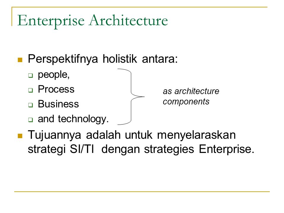 Enterprise Architecture Perspektifnya holistik antara:  people,  Process  Business  and technology. Tujuannya adalah untuk menyelaraskan strategi