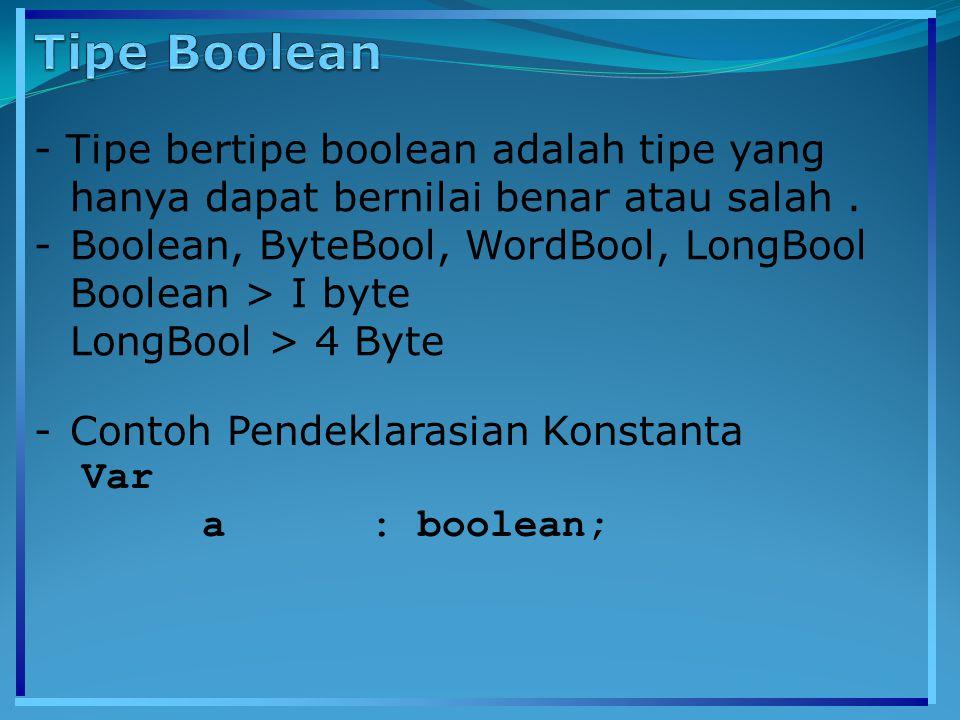 - Tipe bertipe boolean adalah tipe yang hanya dapat bernilai benar atau salah. -Boolean, ByteBool, WordBool, LongBool Boolean > I byte LongBool > 4 By