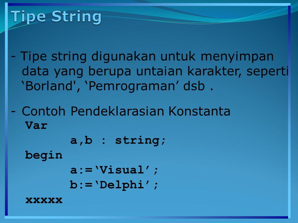 - Tipe string digunakan untuk menyimpan data yang berupa untaian karakter, seperti 'Borland', 'Pemrograman' dsb. -Contoh Pendeklarasian Konstanta Var