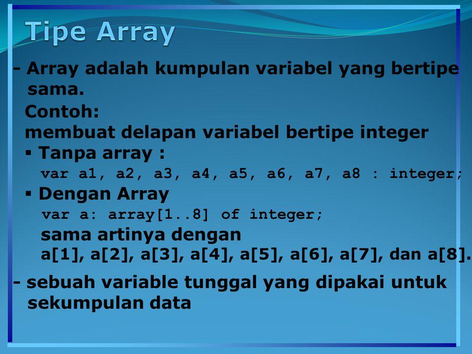 - Array adalah kumpulan variabel yang bertipe sama. Contoh: membuat delapan variabel bertipe integer  Tanpa array : var a1, a2, a3, a4, a5, a6, a7, a