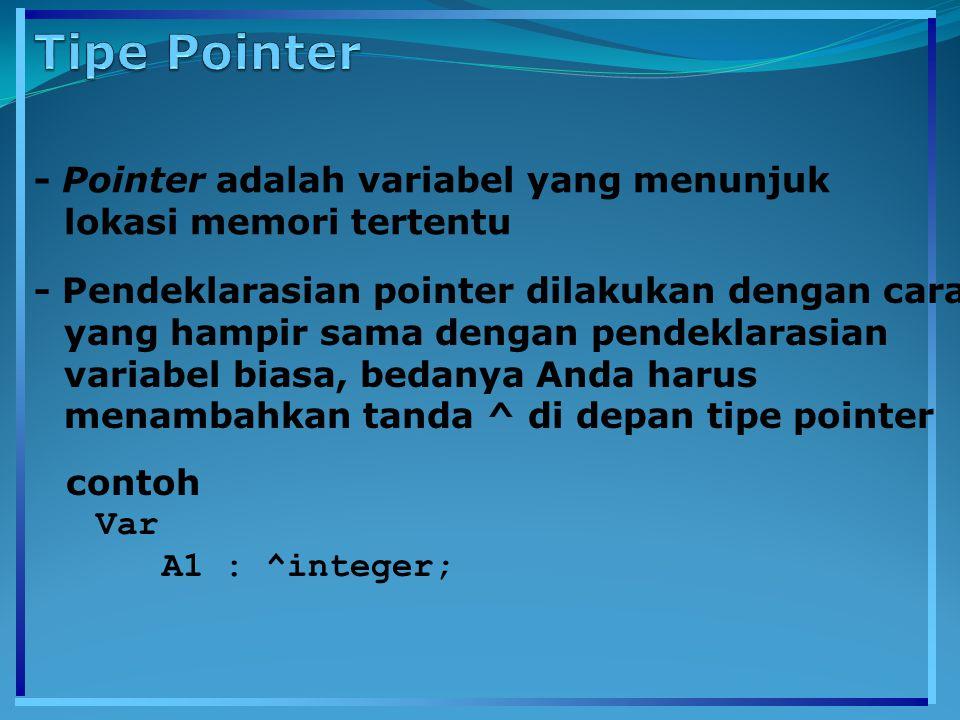- Pointer adalah variabel yang menunjuk lokasi memori tertentu - Pendeklarasian pointer dilakukan dengan cara yang hampir sama dengan pendeklarasian variabel biasa, bedanya Anda harus menambahkan tanda ^ di depan tipe pointer contoh Var A1 : ^integer;