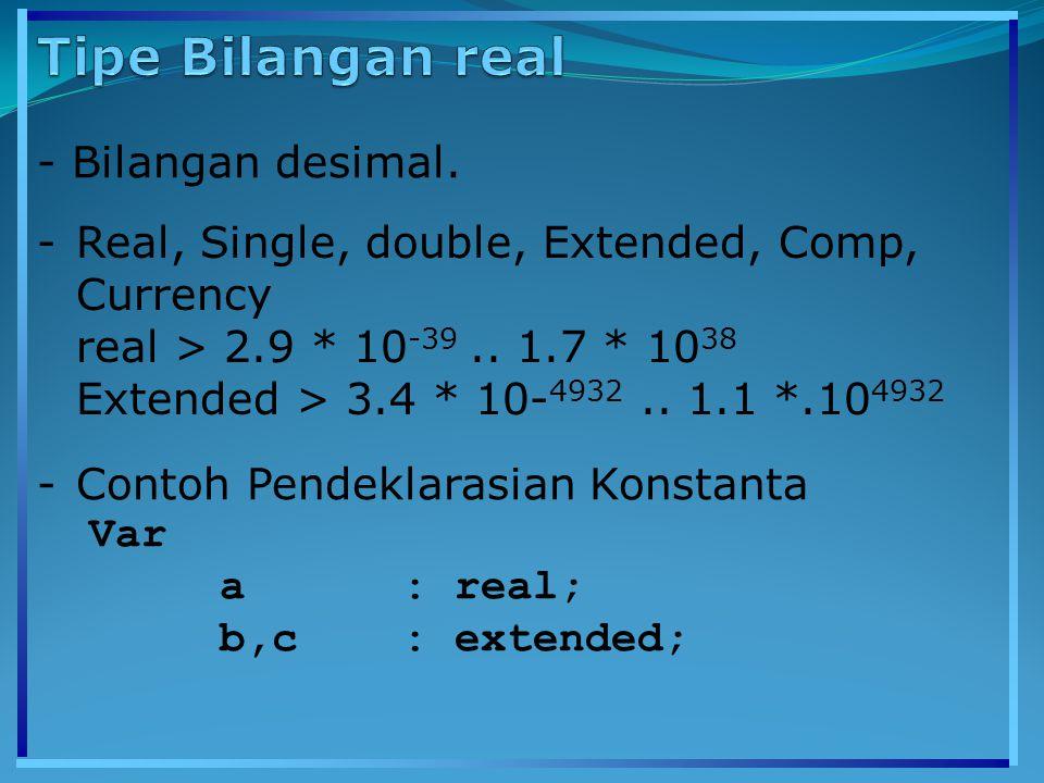 - Tipe string digunakan untuk menyimpan data yang berupa untaian karakter, seperti 'Borland , 'Pemrograman' dsb.