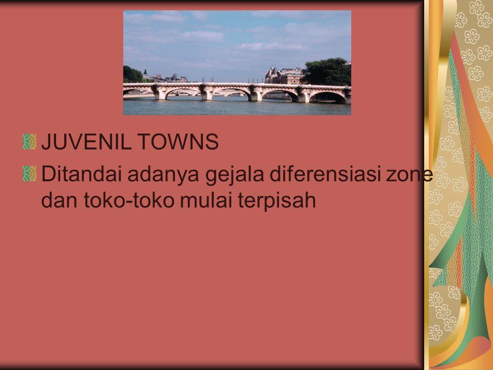 ADOLESCENT TOWNS Mulai memiliki pabrik-pabrik tetapi belum menunjukkan adanya rumah- rumah klas tinggi.