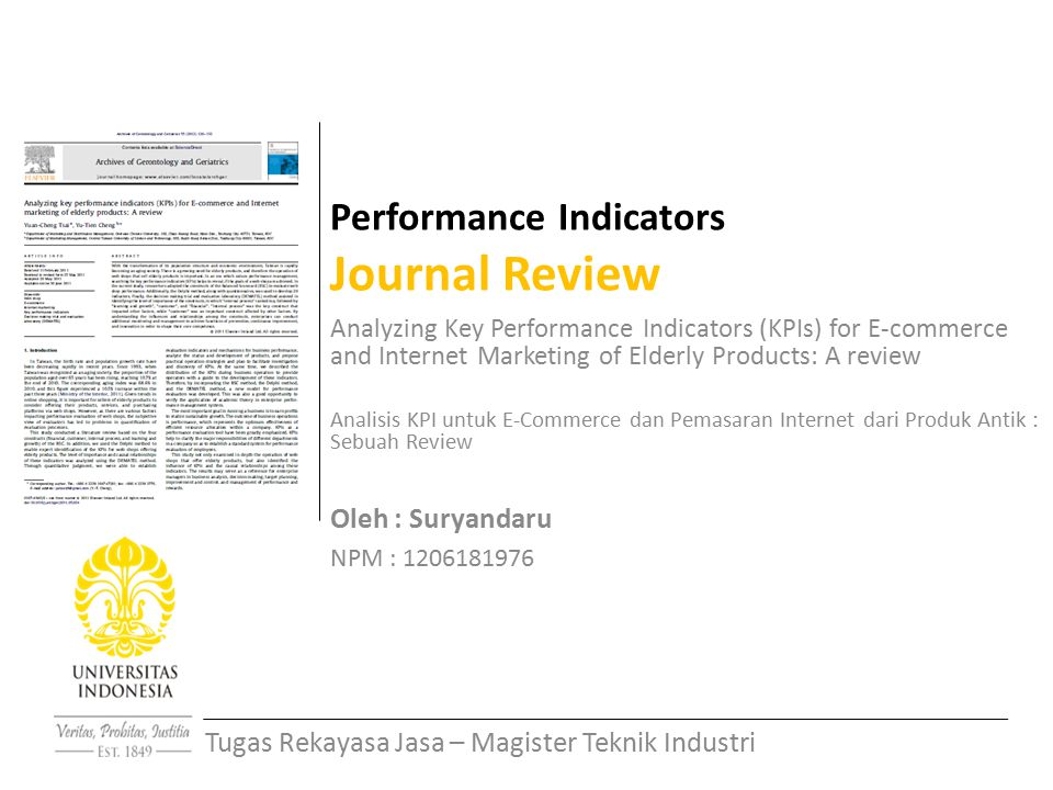 Performance Indicators Journal Review Analyzing Key Performance Indicators (KPIs) for E-commerce and Internet Marketing of Elderly Products: A review