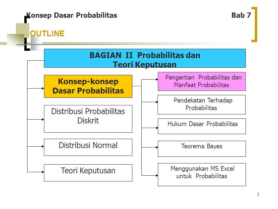 3 Konsep Dasar Probabilitas Bab 7 Definisi: Probabilitas adalah peluang suatu kejadian Manfaat: Manfaat mengetahui probabilitas adalah membantu pengambilan keputusan yang tepat, karena kehidupan di dunia tidak ada kepastian, dan informasi yang tidak sempurna.