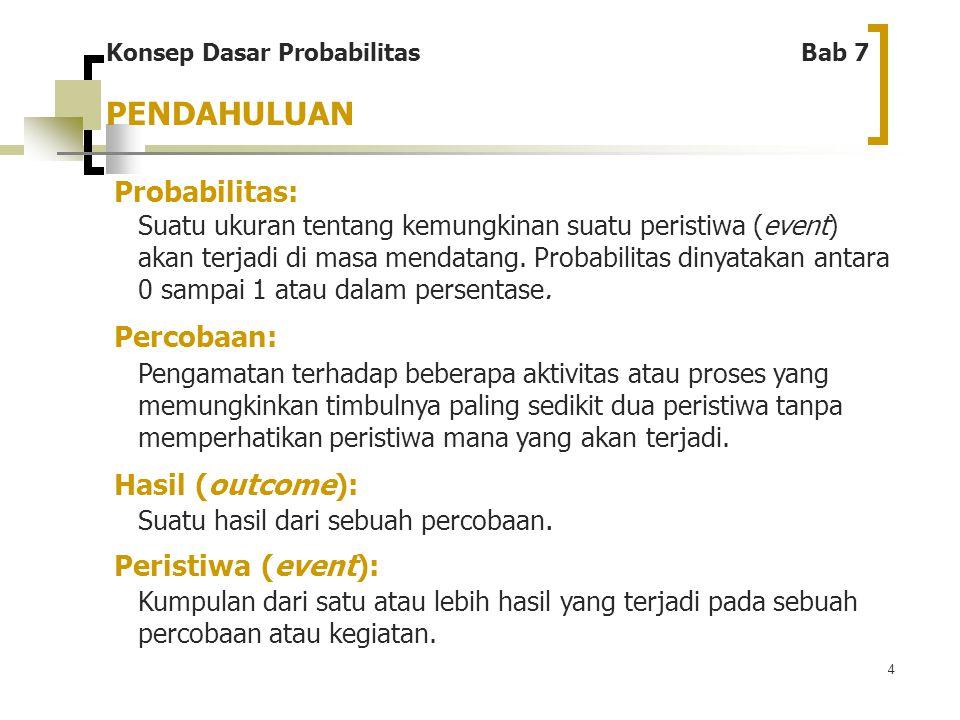 4 Konsep Dasar Probabilitas Bab 7 Probabilitas: Suatu ukuran tentang kemungkinan suatu peristiwa (event) akan terjadi di masa mendatang. Probabilitas