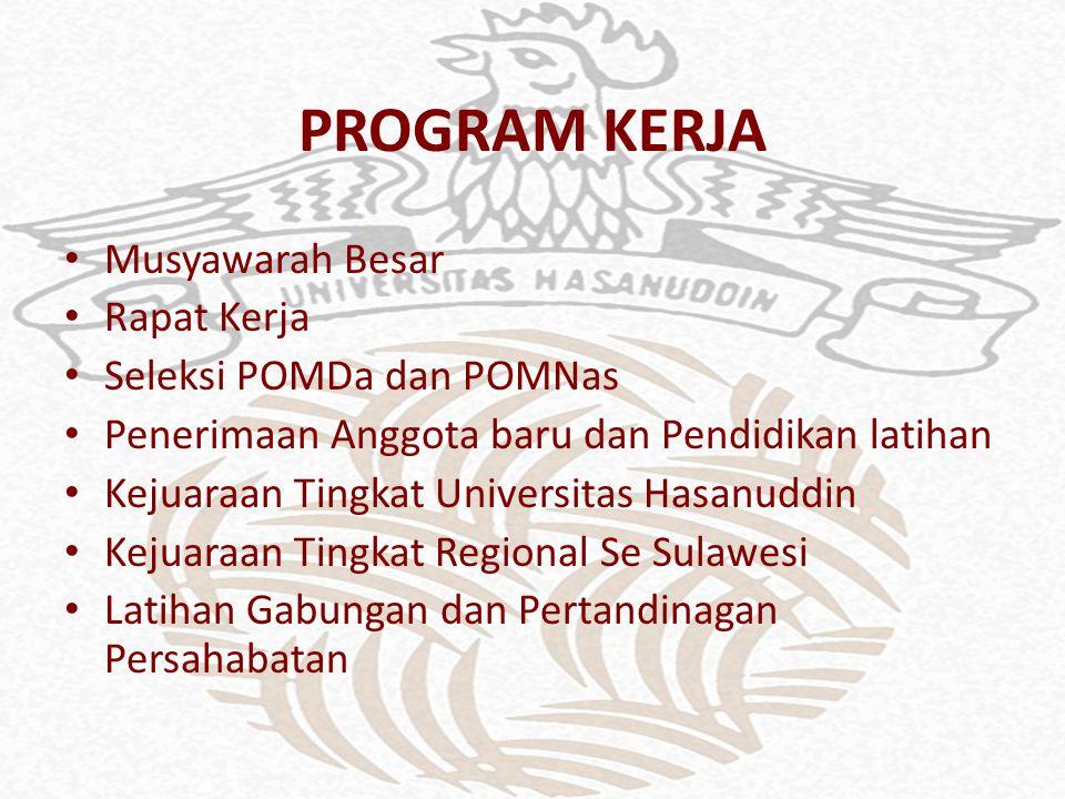 PROGRAM KERJA Musyawarah Besar Rapat Kerja Seleksi POMDa dan POMNas Penerimaan Anggota baru dan Pendidikan latihan Kejuaraan Tingkat Universitas Hasanuddin Kejuaraan Tingkat Regional Se Sulawesi Latihan Gabungan dan Pertandinagan Persahabatan