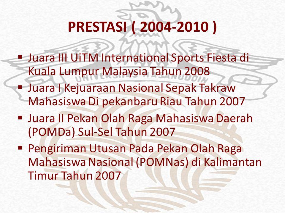 PRESTASI ( 2004-2010 )  Juara III UiTM International Sports Fiesta di Kuala Lumpur Malaysia Tahun 2008  Juara I Kejuaraan Nasional Sepak Takraw Maha