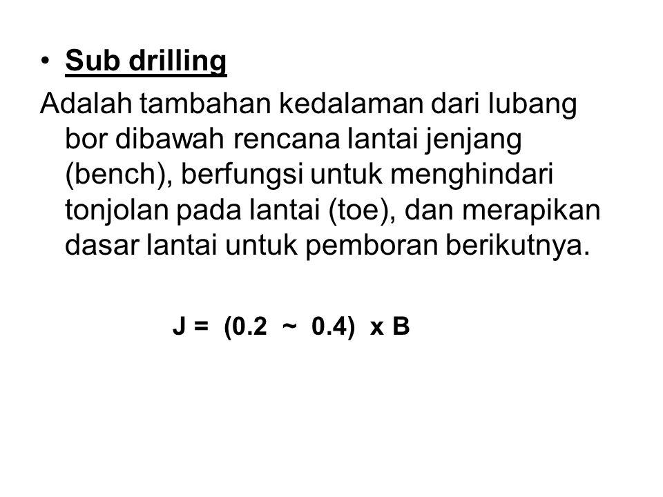 –Spacing Yaitu jarak diantara lubang tembak dalam satu row, merupakan fungsi dari burden, secara teoritis sebagai berikut: S = (1 ~> 1.8) x B B : burden (m) S : Spasing (m) Biasanya rata-rata spacing S = 1.25 B