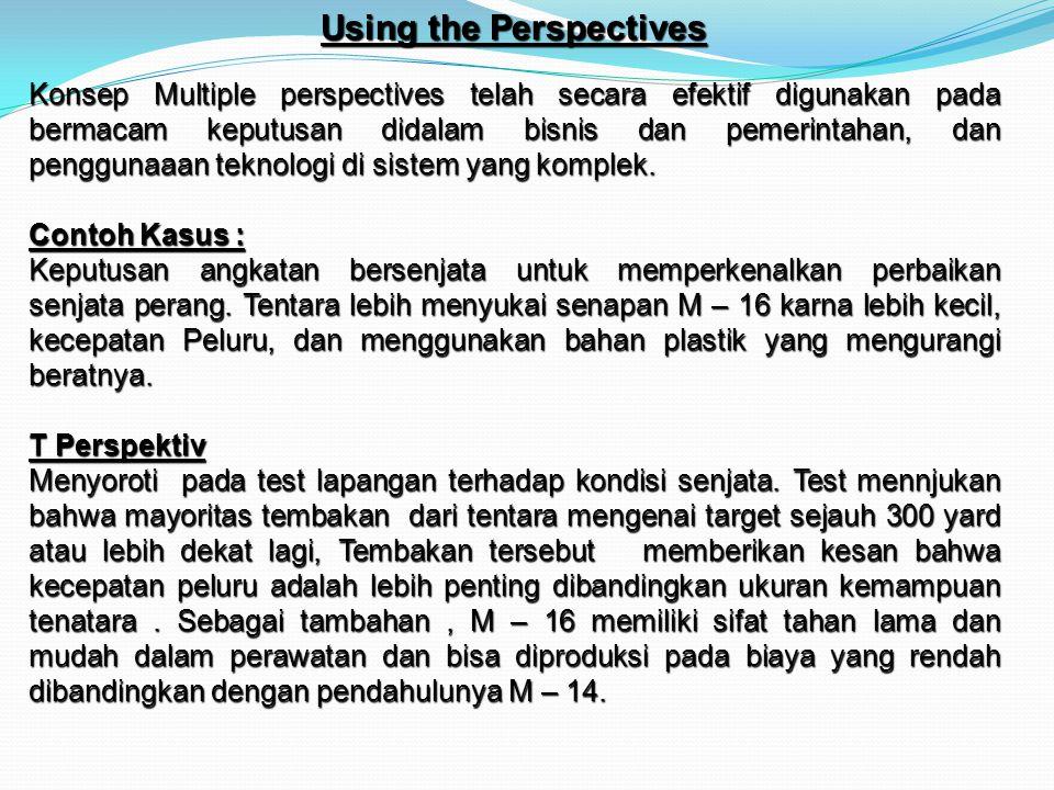 Using the Perspectives Konsep Multiple perspectives telah secara efektif digunakan pada bermacam keputusan didalam bisnis dan pemerintahan, dan penggu