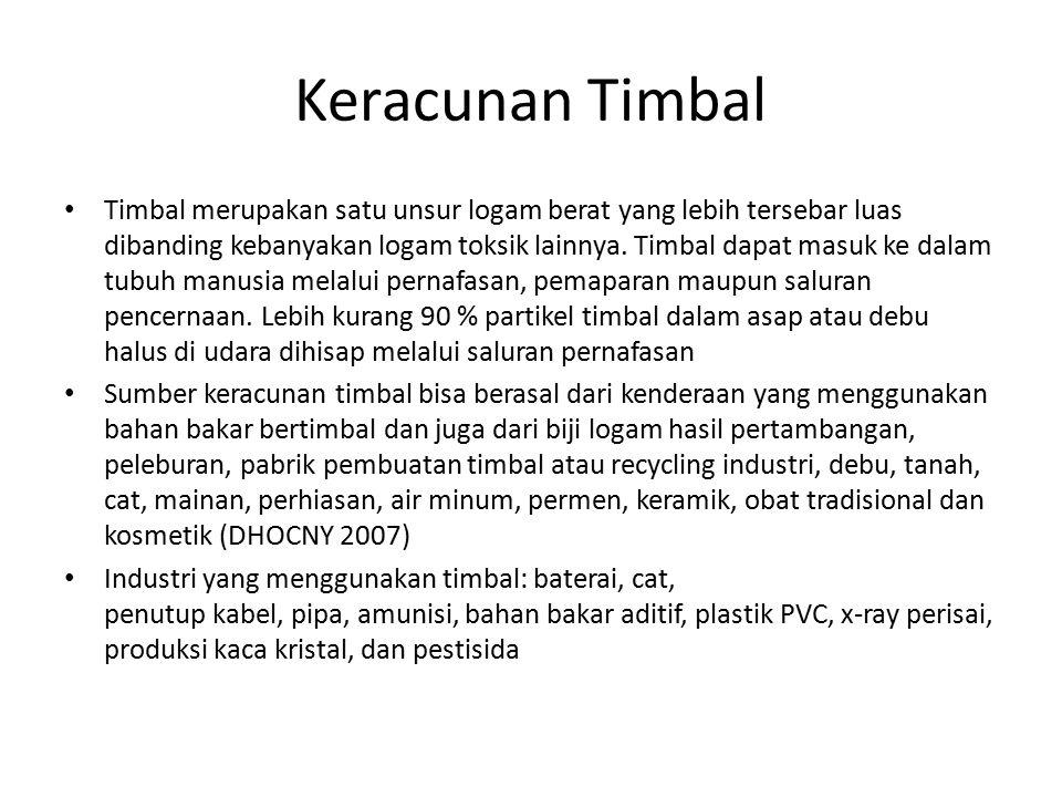 Keracunan Timbal Timbal merupakan satu unsur logam berat yang lebih tersebar luas dibanding kebanyakan logam toksik lainnya.