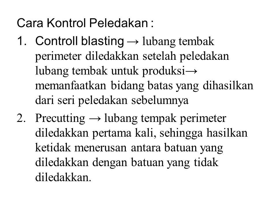 Cara Kontrol Peledakan : 1.Controll blasting → lubang tembak perimeter diledakkan setelah peledakan lubang tembak untuk produksi→ memanfaatkan bidang
