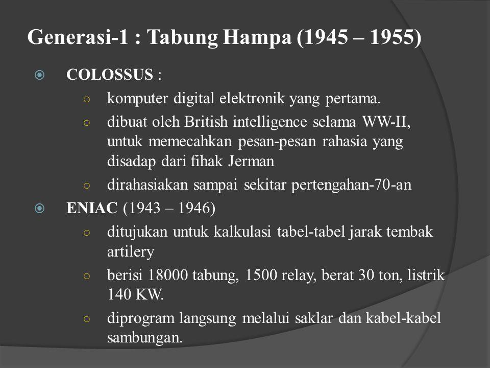 Generasi-1 : Tabung Hampa (1945 – 1955)  COLOSSUS : ○ komputer digital elektronik yang pertama.