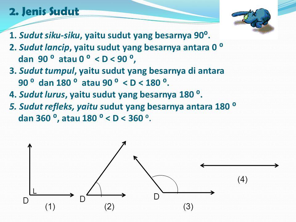 2.Jenis Sudut 1. Sudut siku-siku, yaitu sudut yang besarnya 90⁰.
