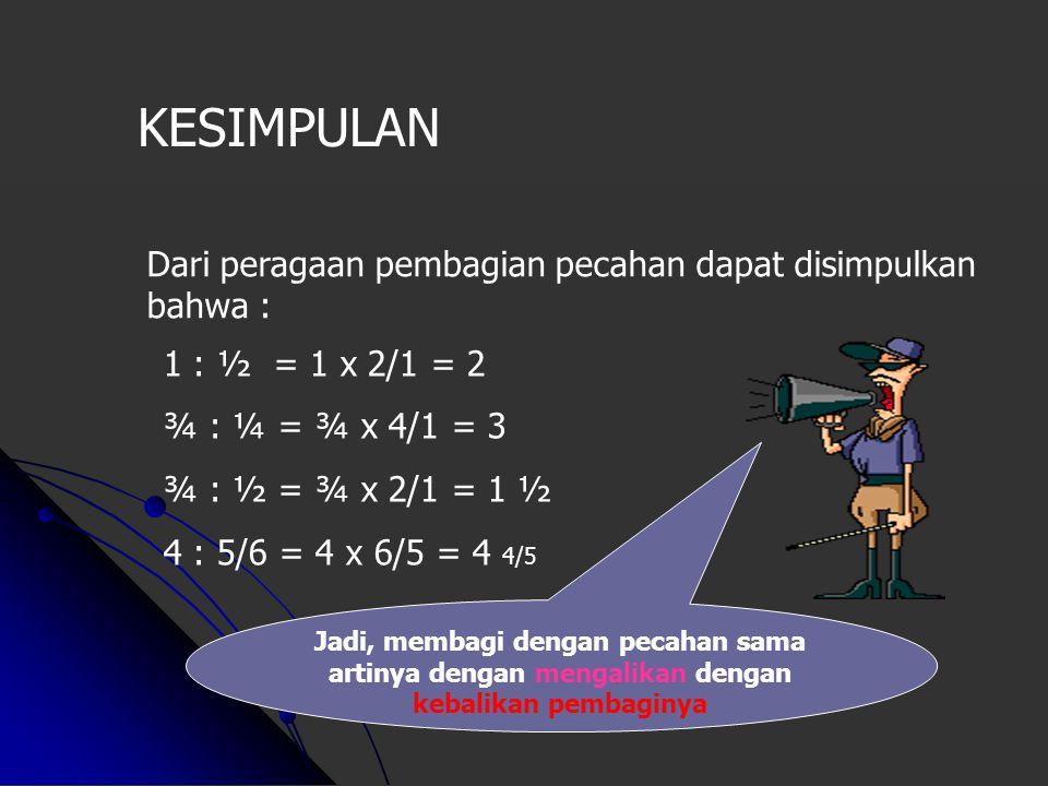 0 2/43/4 1 1/4 ¾ : ½ = ? Maka, ¾ : ½ = 1 ½ 1 ½ 0 1 234 4/5 1 111 4 : 5/6 = ? Maka, 4 : 5/6 = 4 4/5 Dari angka 3/4 perlu 1 langkah setengah mundur sete