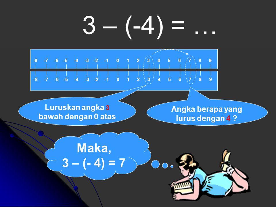 Maka, 3 - 4 = - 1 3 - 4 = … -8 -7 -6 -5 -4 -3 -2 -1 0 1 2 3 4 5 6 7 8 9 Luruskan angka 3 bawah dengan 0 atas Angka berapa yang lurus dengan - 4 ?