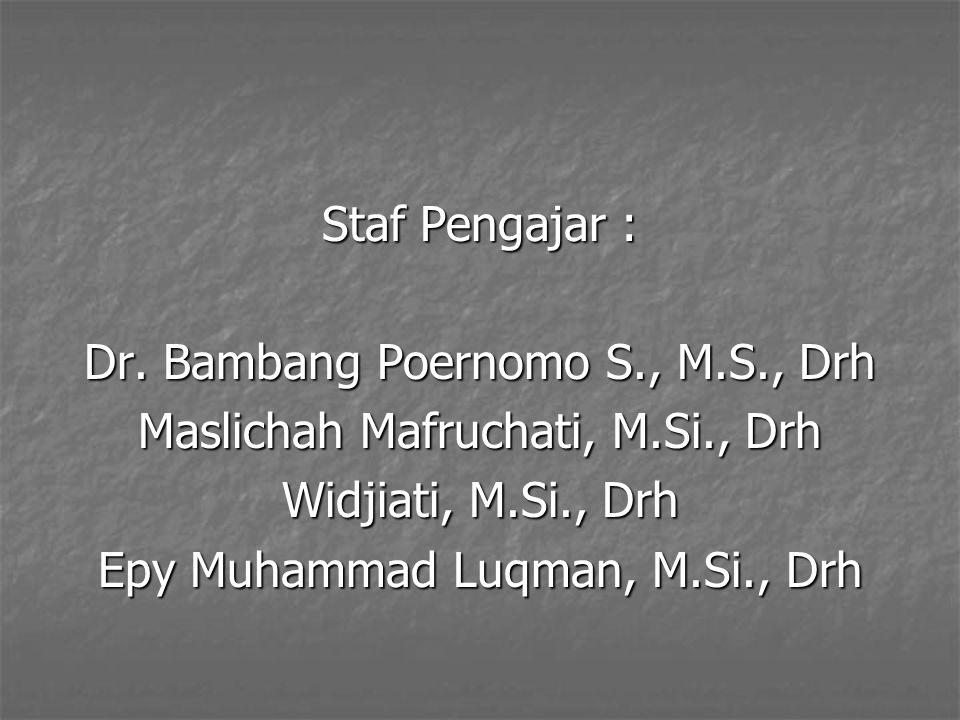 Staf Pengajar : Dr. Bambang Poernomo S., M.S., Drh Maslichah Mafruchati, M.Si., Drh Widjiati, M.Si., Drh Epy Muhammad Luqman, M.Si., Drh